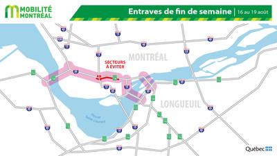 Carte générale des entraves, fin de semaine du 16 août (Groupe CNW/Ministère des Transports)