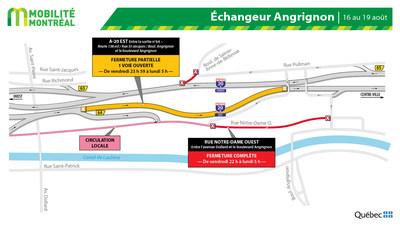 Secteur boulevard Angrignon et A20, fin de semaine du 16 août (Groupe CNW/Ministère des Transports)