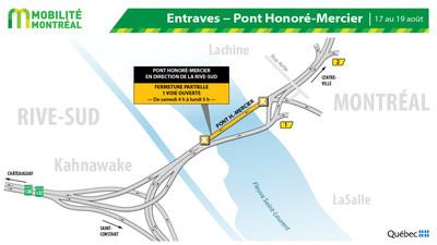 Entrave pont Honoré-Mercier, fin de semaine du 16 août (Groupe CNW/Ministère des Transports)