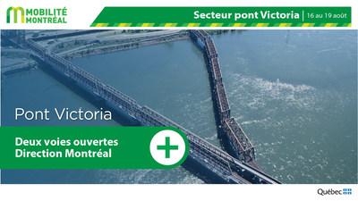 Mesure d'atténuation pont Victoria, fin de semaine du 16 août (Groupe CNW/Ministère des Transports)