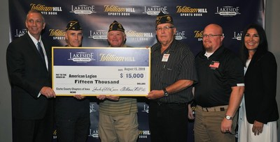 Included in photo: DAVE MONROE, VP & General Manager, Lakeside Hotel & Casino, ERIC BARR – Commander of American Legion Post #69 in Osceola, FRANK HAMILTON - Commander of American Legion Post #157 in Woodburn, BILL SHESLEY - Commander of American Legion Post #405 in Murray, SHANE SIMPSON - Clark County Veterans Affairs, MARY BETH HIGGINS,  Chief Operating Officer, Affinity Gaming