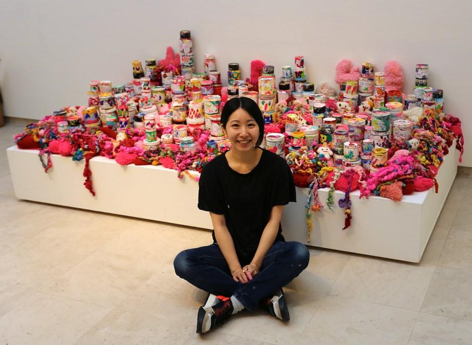 Ayako Rokkaku in Museum Jan van der Togt, Amstelveen, The Netherlands, July 2019.