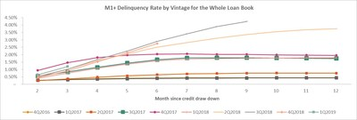 M1+ Delinquency Rate by Vintage for the Whole Loan Book