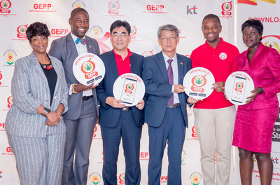 From left: Dr. Chastity Walker of CDC, Okoe Boye Bernard, parliamentary of health committee, Lee Dong-Myun, the president, Future Platform Business Group of KT, H.E. Sungsoo Kim, Korean Ambassador to Ghana, Dr Ebenezer Odame, Director of Policy Planning and Evaluation (PPME) at the Ministry of Health (MOH), and DR. Ekua Essumanma Houphouet, Disease Control Prevention Officer are photographed during GEPP Ghana launch ceremony on August 14th (PRNewsFoto/KT Corp.)