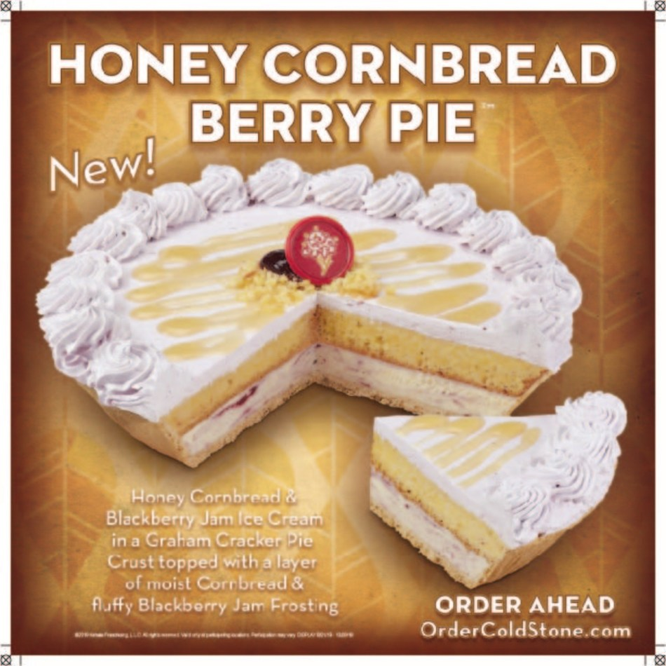 Honey Cornbread Berry Pie™ made with Honey Cornbread & Blackberry Jam Ice Cream in a Graham Cracker Pie Crust topped with a layer of moist Cornbread and fluffy Blackberry Jam Frosting.