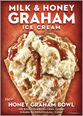 Honey Graham Bowl™ Creation, made with Milk & Honey Graham Ice Cream, Caramel and double the Golden Grahams™ Cereal.