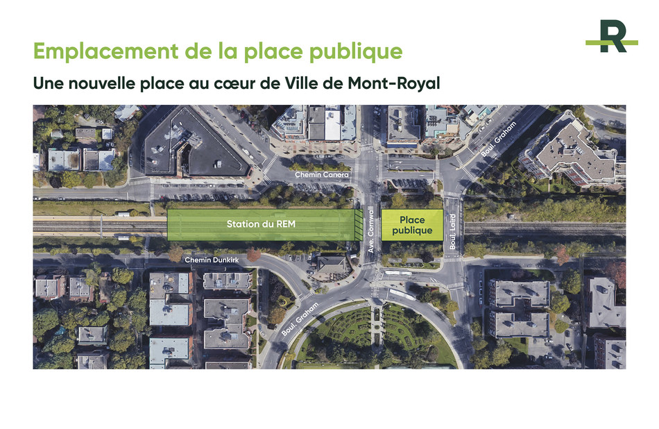 Creation of a new public space in the heart of Town of Mount Royal (CNW Group/Réseau express métropolitain - REM)