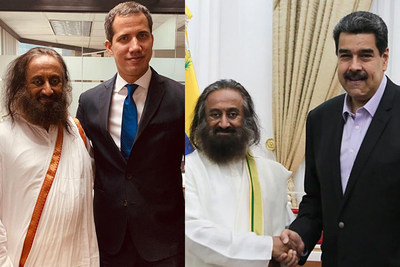 Gurudev Sri Sri Ravi Shankar met with President Mr. Nicolás Maduro (right) and Mr. Juan Guaido, President of the National Assembly recognised by the governments of 60 countries, as well as opposition leader.