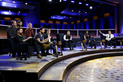 "The Jeep® brand teams up with NBC's hit series ""Songland"" and Old Dominion to give a songwriter the chance to pen a song for a new Jeep brand commercial [from left to right, front row: Geoff Sprung (Old Dominion), Matthew Ramsey (Old Dominion), Olivier Francois (CMO, Fiat Chrysler Automobiles), Shane McAnally, Ester Dean, Ryan Tedder; left to right, back row: Whit Sellers (Old Dominion), Brad Tursi (Old Dominion), Trevor Rosen (Old Dominion)]"