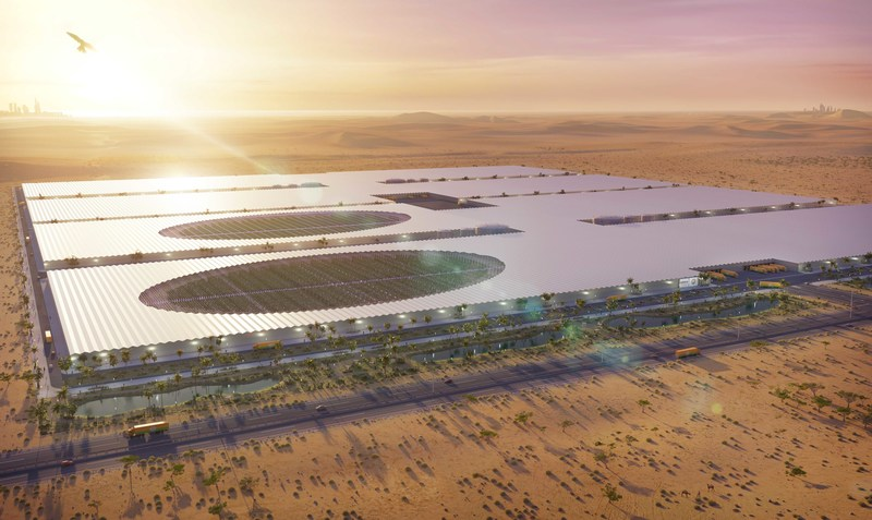 Green International Ventures LLC (GIVE)'s Middle East location will be the world's largest and most technologically advanced indoor farming project. (CNW Group/Mastronardi Produce Ltd.)