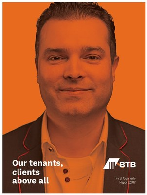 First Quarterly Report 2019 cover featuring Marc-André Leclerc from Productions Optimales (CNW Group/BTB Real Estate Investment Trust)