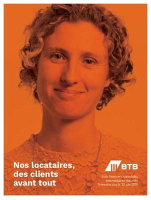 Couverture du deuxième rapport trimestriel 2019 avec Catherine Fortin du Collège April Fortier (Groupe CNW/Fonds de placement immobilier BTB)