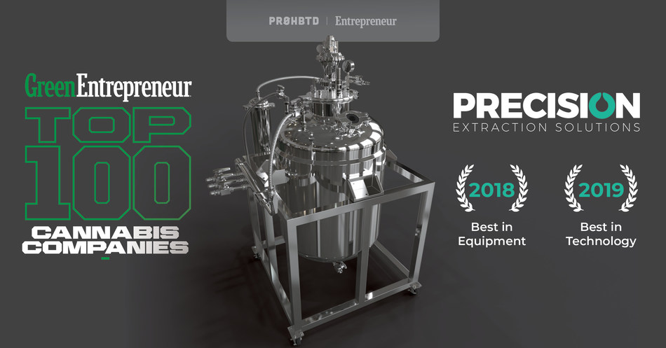 """Precision Extraction Solutions Awarded """"Best in Technology"""" on Entrepreneur's Top 100 Cannabis Companies"""
