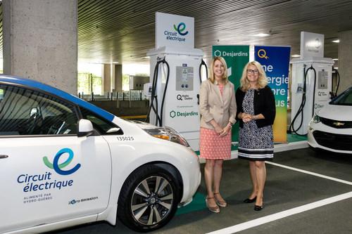 À gauche : France Lampron, directrice Électrification des transports à Hydro-Québec et présidente du Circuit électrique; À droite : Pauline D'Amboise, vice-présidente Gouvernance, Développement durable et secrétaire générale du Mouvement Desjardins (Groupe CNW/Mouvement Desjardins)