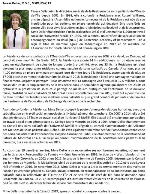 Notes biographiques - Teresa Dellar (Groupe CNW/Résidence de soins palliatifs de l'Ouest-de-l'Ile)