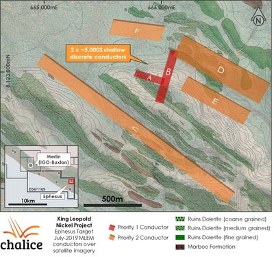 Figure 2 Ephesus Target MLEM conductors over mapped geology and satellite imagery (CNW Group/Chalice Gold Mines Limited)