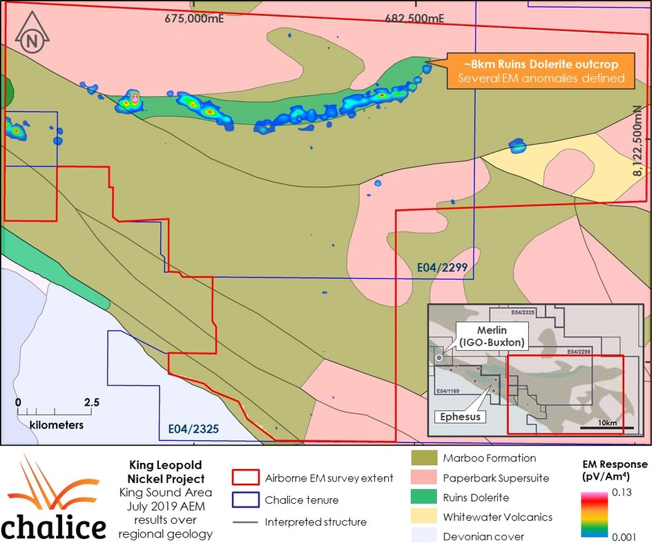Figure 3 King Sound AEM survey late-time gridded image (channel 25, Z component) (CNW Group/Chalice Gold Mines Limited)