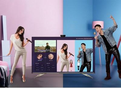 Através do karaokê 3D Avatar, os usuários podem cantar karaokê em cenários virtuais e a tecnologia 5G torna possível convidar amigos para cantarem juntos on-line. (PRNewsfoto/Hisense)