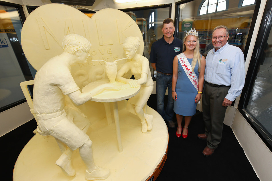 American Dairy Association North East unveiled the 51st Annual Butter Sculpture at the New York State Fair with the help of Venture Farms dairy farmer Joel Reiiehlman, of Fabius, N.Y., New York State Dairy Princess Reegan Domagala and New York State Department of Agriculture and Markets Commissioner Richard A. Ball.