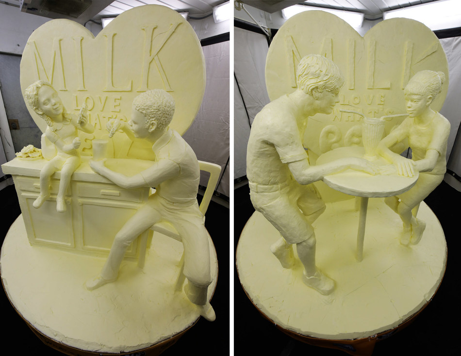 """Milk. Love What's Real"" is this year's theme of the 51st Annual Butter Sculpture at the New York State Fair, unveiled by American Dairy Association North East on August 20."