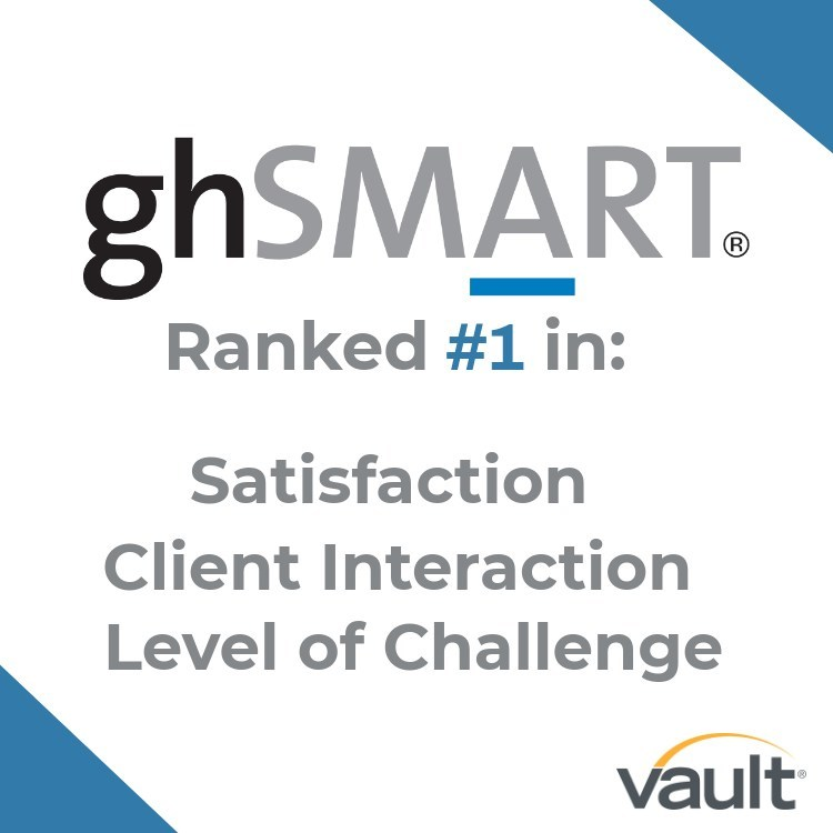 ghSMART Named #1 Firm by Vault in Three Categories in its Annual Rankings of Best Consulting Firms to Work For