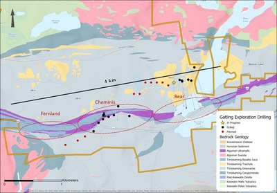 Figure 3. Larder Gold Project surface drilling status map showing local geology (CNW Group/Gatling Exploration Inc.)