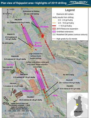 Figure 1: Plan view of Rajapalot project area showing drill intersections, 2019 area of likely resource expansion, undrilled extensions to resource areas and modelled ground TEM plates over Lidar image and geological interpretation of ground magnetics. (CNW Group/Mawson Resources Ltd.)