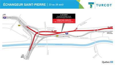 Fermetures – secteur échangeur Saint-Pierre (Groupe CNW/Ministère des Transports)