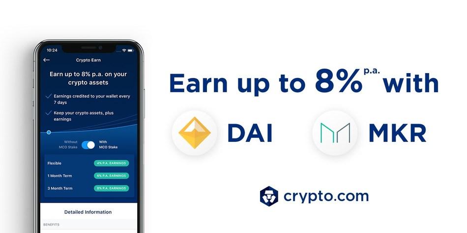 Crypto Earn: Now Earn 8% p.a. on DAI & MKR deposits