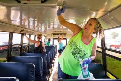 On Thursday, Aug. 15, 2019, in Webbers Falls, Okla., the Clorox brand lends a hand at Webbers Falls Public School and provides Clorox Disinfecting Wipes and a donation to ensure the school and its buses are clean and ready for the new school year. This support comes on the heels of extensive flooding that damaged facilities and delayed the school start-date. (Beth Hall/AP Images for Clorox)