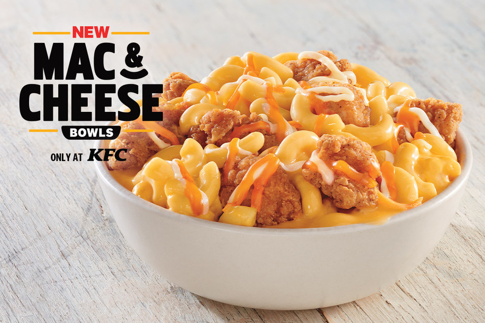 KFC introduces Mac & Cheese Bowls – a cheesy twist on KFC's popular Famous Bowls – available as part of KFC's $5 Fill Up line up in restaurants nationwide starting August 26.