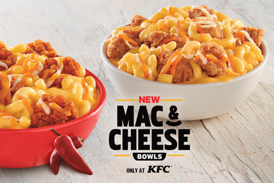 KFC's new Mac & Cheese Bowls combine KFC's rich and creamy mac & cheese, topped with crispy popcorn chicken, and sprinkled with a three-cheese blend. The new menu item is also available with KFC's spicy, smoky Nashville Hot sauce.
