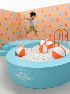 "Marking its largest design-refresh in more than 25 years, Howard Johnson by Wyndham celebrates its newly redesigned retro-cool guestrooms while giving a playful nod to the nostalgic days of orange roofs, ice cream and family road trips at the pop-up event, ""HoJo's Sweet Escape, on Thursday, Aug. 22, 2019 in New York. (Diane Bondareff/AP Images for Howard Johnson by Wyndham)"