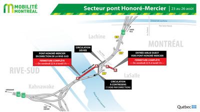 Fermeture pont Honoré-Mercier, fin de semaine du 23 août (Groupe CNW/Ministère des Transports)