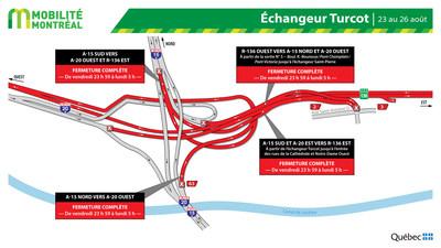 Fermeture échangeur Turcot, fin de semaine du 23 août (Groupe CNW/Ministère des Transports)