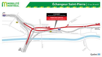 Fermeture A20 ouest et échangeur Saint-Pierre, fin de semaine du 23 août (Groupe CNW/Ministère des Transports)