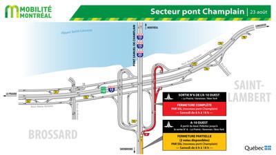 Fermetures secteur pont Samuel-De Champlain à Brossard, fin de semaine du 23 août (Groupe CNW/Ministère des Transports)