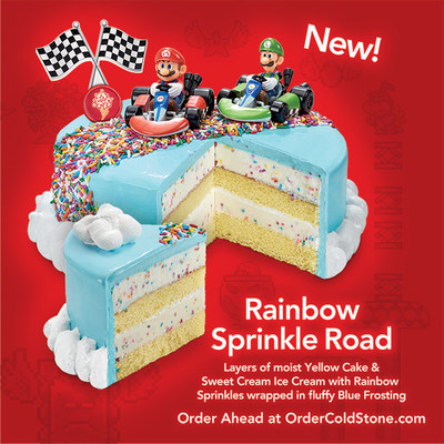 Rainbow Sprinkle Road™ features layers of moist Yellow Cake and Sweet Cream Ice Cream with Rainbow Sprinkles and wrapped in fluffy Blue Frosting