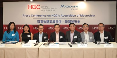 HGC announces completion of acquisition of Macroview at a press conference. Left to right: Ms. Cecilia Wong (Executive Vice President, Product & Innovations of HGC), Ms. Jacqueline Teo (Chief Digital Officer of HGC), Mr. Daniel Kong (Chief Financial Officer of HGC), Mr. Andrew Kwok (Chief Executive Officer of HGC), Mr. Victor Share (Chief Executive Officer of Macroview), Mr. Patrick Fung (Chief Financial Officer of Macroview), Mr. PH Tang (Chief Technology Officer of Macroview)