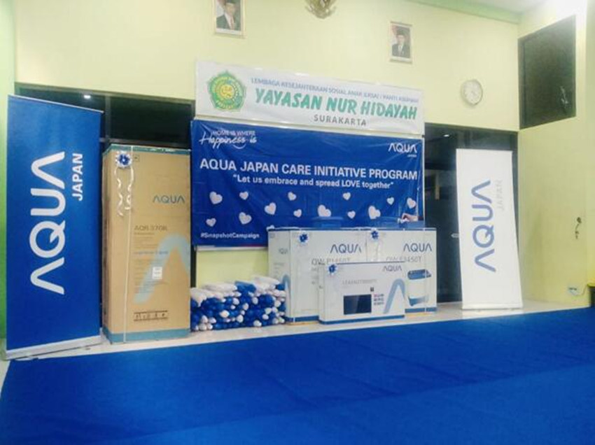 The donation event held by AQUA in an orphanage in Solo, Indonesia, on August 20.