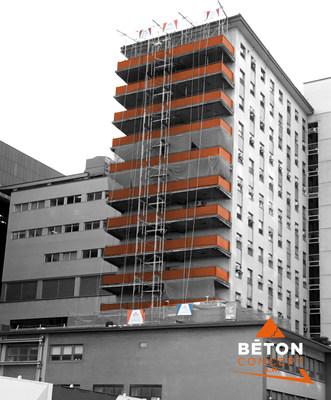 L'expertise de Béton Concept A.M. a été déployée dans de nombreux grands chantiers dont celui du CHUM, le Centre hospitalier universitaire de Montréal. (Groupe CNW/Béton Concept A.M.)