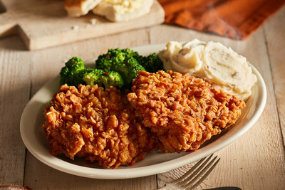 Sunday Homestyle Chicken, which features two boneless chicken breasts hand-dipped in Cracker Barrel's special buttermilk batter, breaded and fried to a crispy, golden brown, is now available every day in-store, as well as for guests to enjoy at home for family gatherings through Cracker Barrel Catering™.
