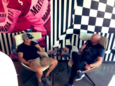 Chris Cuomo and Paul Rieckhoff talk for Angry Americans Episode 21 at the Classic Car Club Manhattan in New York