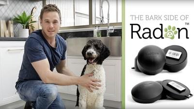 Mike Holmes Jr. and Caicos, Bark Ambassadors for The Bark Side of Radon campaign, promoting radon awareness through animal wellness. (CNW Group/Radon Environmental Management Corp.)
