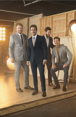 Morgan Rielly (Toronto Maple Leafs), Mark Scheifele (Winnipeg Jets), Johnny Gaudreau (Calgary Flames), and Phillip Danault (Montreal Canadiens) are the faces of RW&CO.'s Fall 2019 suiting campaign (CNW Group/RW&CO.)