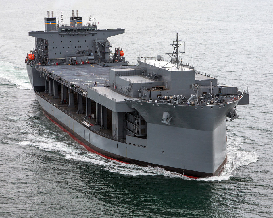 The third Expeditionary Sea Base ship, Lewis B. Puller, seen in this file photo.  General Dynamics NASSCO was awarded a contract worth up to $1.6 billion for the design and construction of two additional ESB ships, with an option for a third.
