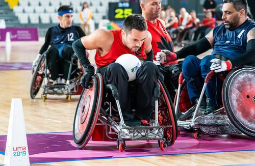 Le premier match de l'équipe canadienne de rugby en fauteuil roulant du tournoi de Lima 2019 s'est soldé une victoire sur l'Argentine. Photo: Patrice Dagenais. PHOTO: Comité paralympique canadien (Groupe CNW/Canadian Paralympic Committee (Sponsorships))