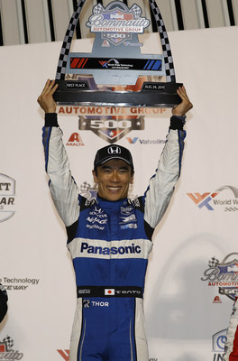 Honda's Takuma Sato celebrates his second NTT IndyCar Series victory of the season, after winning Saturday night's Bommarito Automotive Group 500 at World Wide Technology Raceway near St. Louis, Missouri.