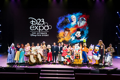 Disney Parks, Experiences and Products Chairman Bob Chapek (center left) was joined onstage by Make-A-Wish America President and CEO Richard Davis (center right) and several Wish kids whose lives have been touched by the power of a Disney wish, Aug. 25, 2019, at D23 Expo 2019 in Anaheim, Calif. Chapek debuted a heartwarming video demonstrating how some wishes are so powerful, they stay with you for a lifetime. (Paul Morse, photographer)
