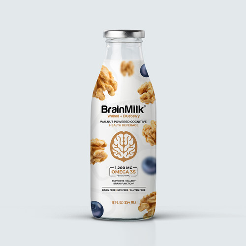 BrainMilk® is a dairy-alternative functional beverage that incorporates concentrated walnut phytonutrients into a low-calorie, ready-to-drink beverage for cognitive health. Each serving contains 1,200mg of ALA Omega-3s. Product claims associated with BrainMilk®  are that a single serving consumed daily will promote memory and support healthy brain function. These claims will be backed by academic studies performed at Penn State University.